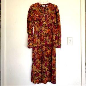 Leslie Fay Long Sleeve Dress Pleated Skirt Sz8 $10